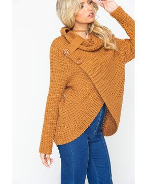 Panhandle Women's Cognac Waffle Knit Crossover Cowl Neck Sweater, Cognac, hi-res