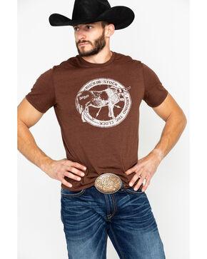 Panhandle Men's Buckin' Stock Around The Clock Short Sleeve T-Shirt, Chocolate, hi-res