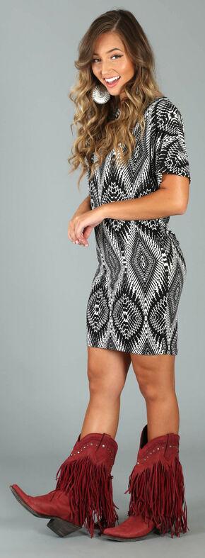 Wrangler Rock 47 Women's Black Print Dolman Wedge Dress , Black, hi-res