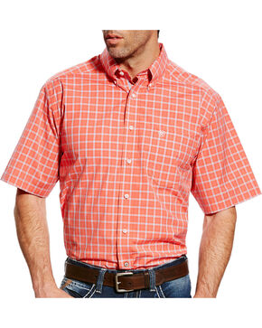 Ariat Men's Pro Series Finch Plaid Short Sleeve Button Down Shirt, Coral, hi-res