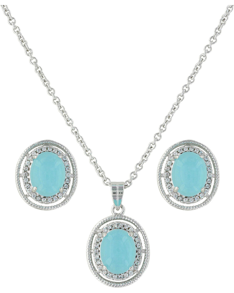 Montana Silversmiths Women's Haloed Summer Skies Jewelry Set , Silver, hi-res
