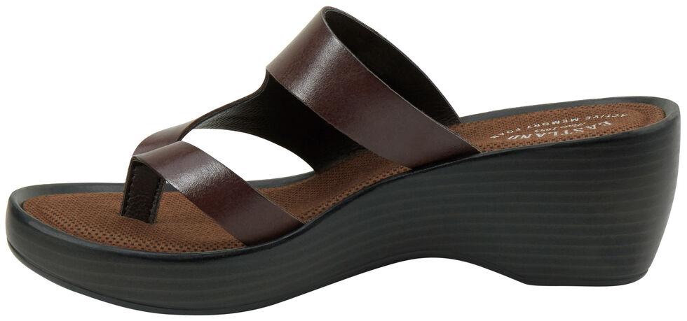 Eastland Women's Dark Brown Laurel Wedge Thong Sandals, Brown, hi-res