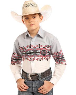 Panhandle Boys' Checotah Border Print Snap Shirt, Grey, hi-res