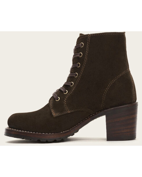 Frye Women's Brown Sabrina 6G Lace Up Boots - Round Toe , Brown, hi-res
