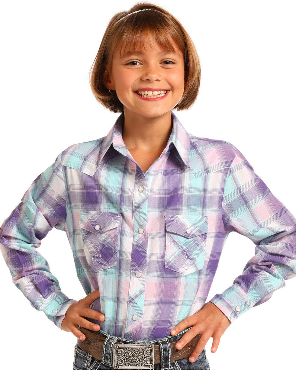 Panhandle Girls' Purple Plaid Long Sleeve Snap Shirt, , hi-res