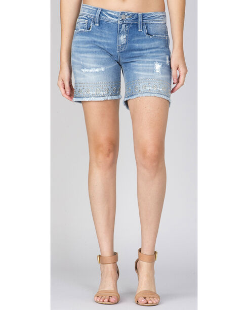 Miss Me Women's Light Indigo Studded Shorts , Indigo, hi-res