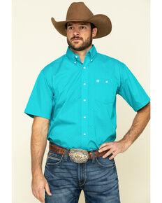 Wrangler Men's Classic Teal Geo Print Short Sleeve Western Shirt , Teal, hi-res