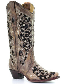 Corral Women's Floral Embroidered Western Boots - Snip Toe, Brown, hi-res