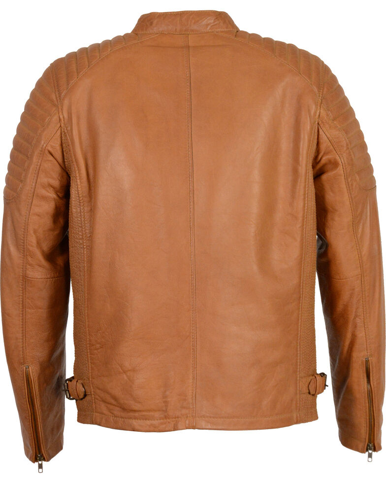 Milwaukee Leather Men's Quilted Shoulders Snap Collar Leather Jacket, Tan, hi-res