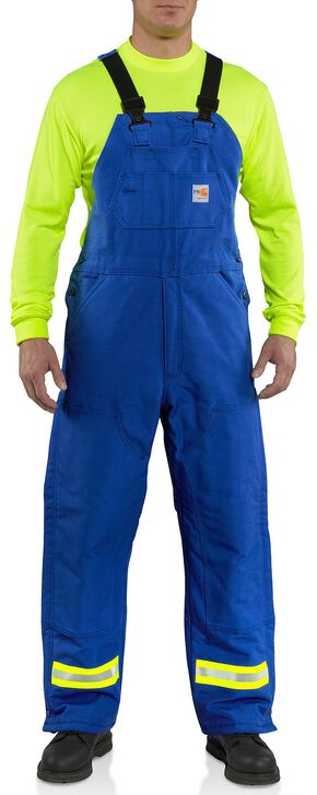 Carhartt Flame Resistant Reflective Quilt Lined Duck Bib Overalls - Big & Tall, Royal, hi-res
