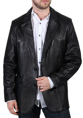 Cody James Men's Lambskin Leather Blazer, Black, hi-res
