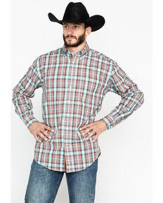 7f4bb51d Panhandle Mens Randolph Vintage Ombre Plaid Long Sleeve Western Shirt ,  Aqua, hi-res