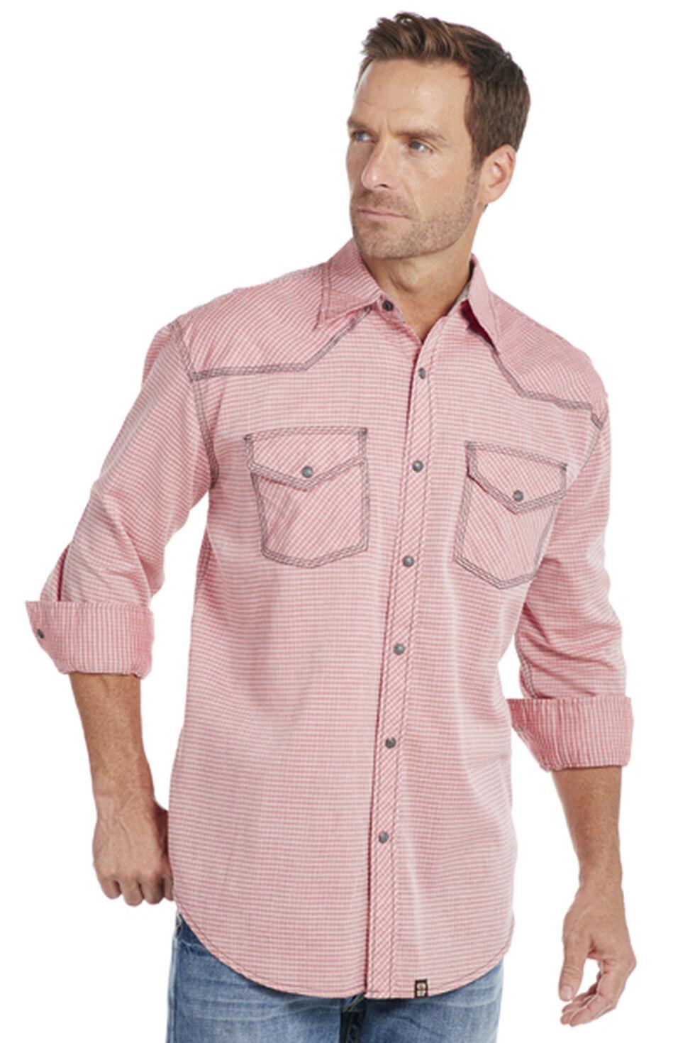 Cowboy Up Men's Red Plaid Snap Shirt, Red, hi-res