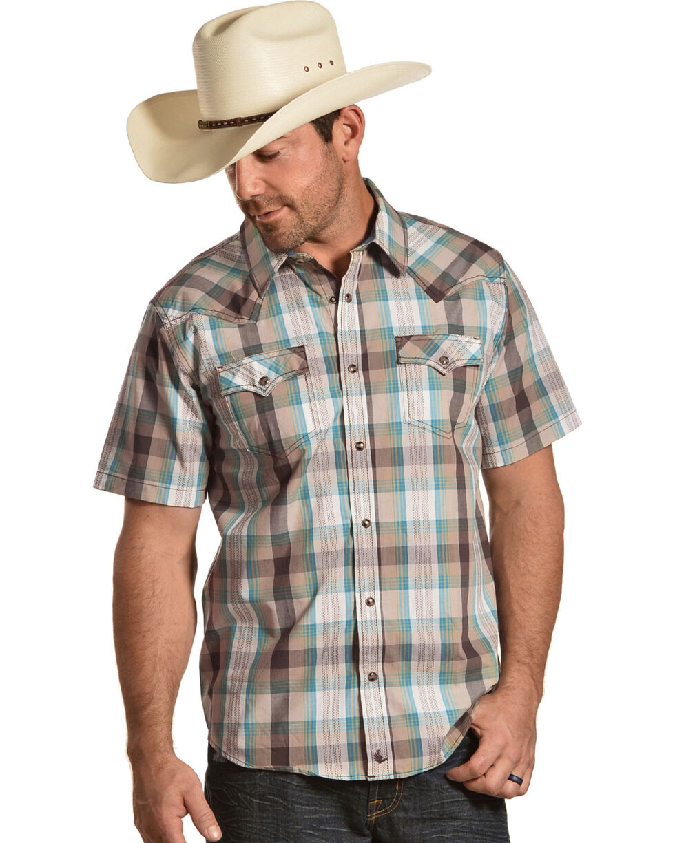 Cody James Men's San Felipe Brown Plaid Short Sleeve Western Shirt - Big & Tall, , hi-res