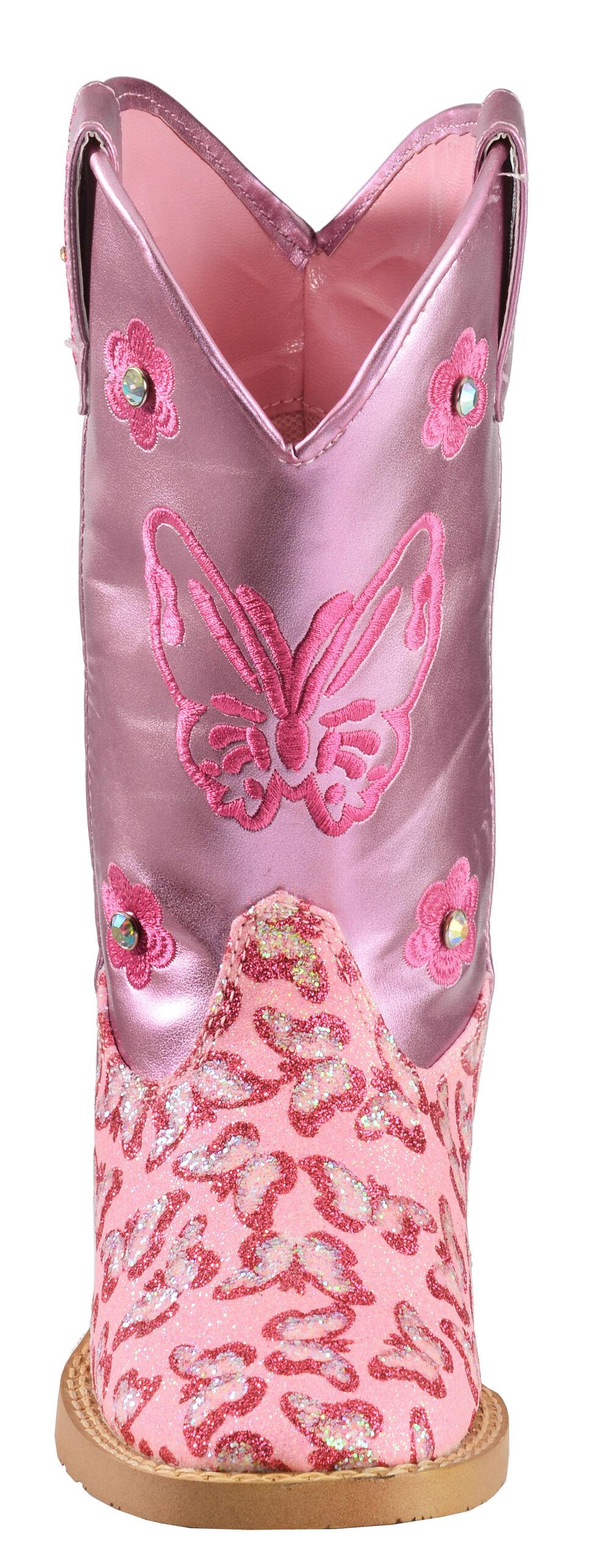 Blazin Roxx Girls' Pink Pecos Glitter Zipper Cowgirl Boots - Square Toe, Pink, hi-res