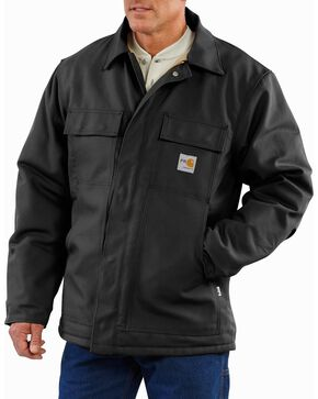 Carhartt Flame Resistant Quilt-Lined Duck Traditional Coat, Black, hi-res