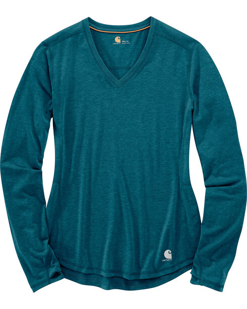 Carhartt Women's Force Ferndale Long Sleeve T-Shirt , Medium Blue, hi-res