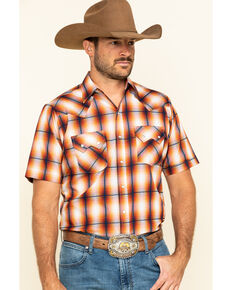 Ely Cattleman Men's Rust Dobby Plaid Short Sleeve Western Shirt - Tall, Rust Copper, hi-res