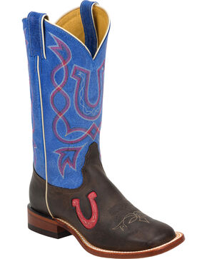 Tony Lama Blue & Chocolate Americana Cowgirl Boots - Square Toe, Chocolate, hi-res