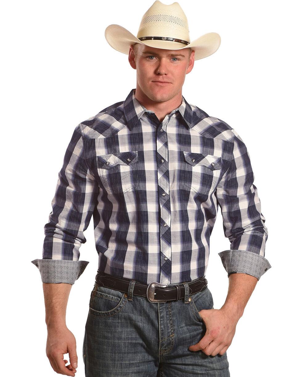 Moonshine Spirit Men's Ampeg Plaid Long Sleeve Western Shirt, Navy, hi-res