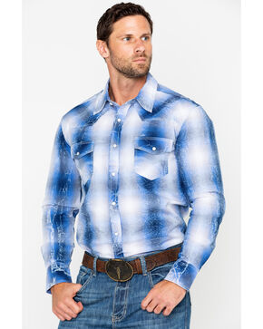 Rock & Roll Cowboy Men's Yarndye Poplin Plaid Long Sleeve Western Shirt, Light Blue, hi-res
