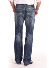 Rock & Roll Cowboy Men's Blue Pistol Abstract Pocket Jeans - Straight Leg , Blue, hi-res