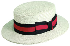 Scala Men's White Straw with Ribbon Trim Boater Hat, Ivory, hi-res