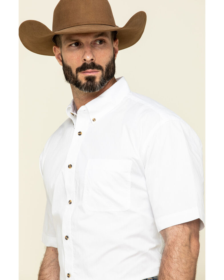 Roper Amarillo Collection Short Sleeve Men's Shirt, White, hi-res