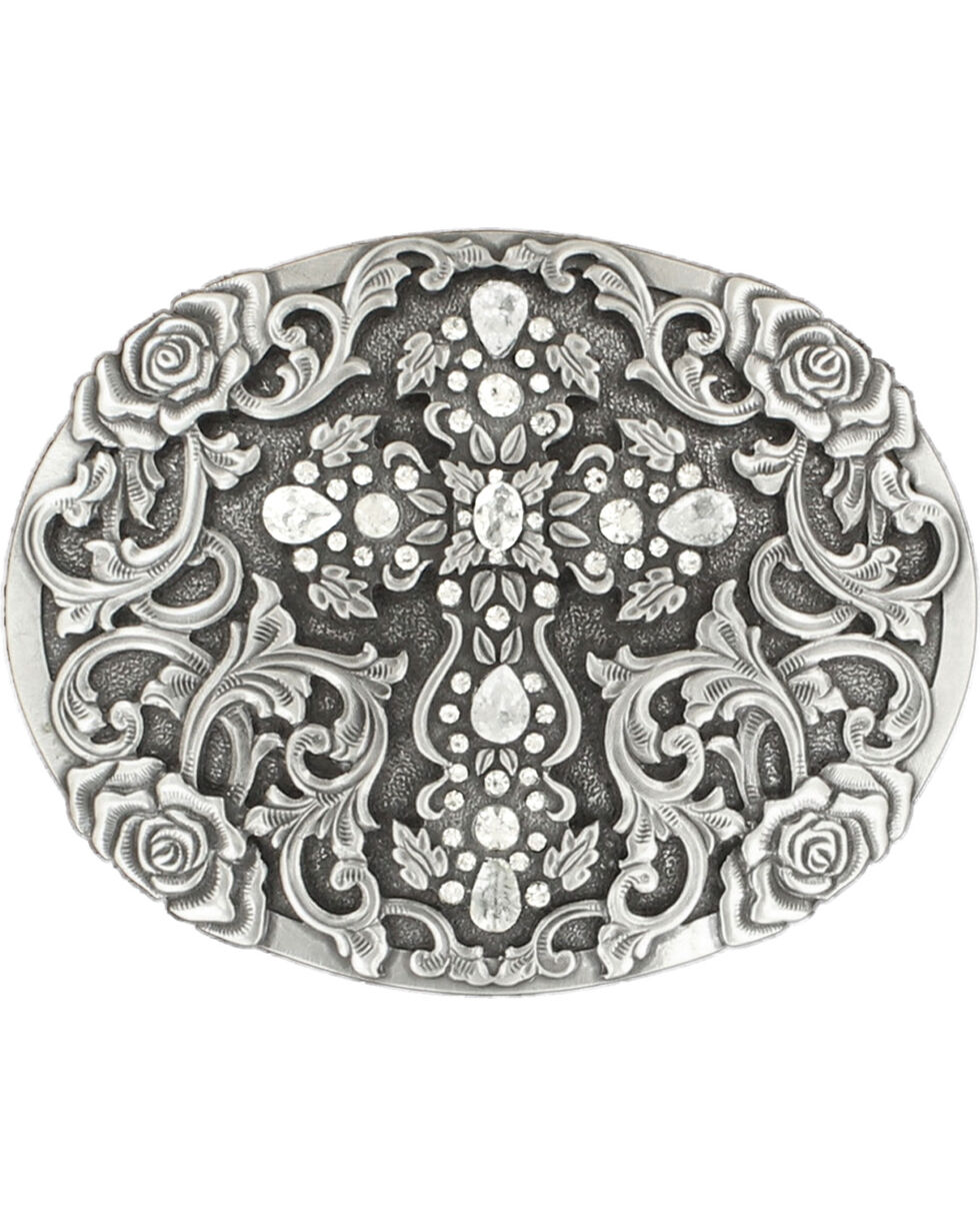 Nocona Women's Oval Cross Rhinestone Buckle, Silver, hi-res