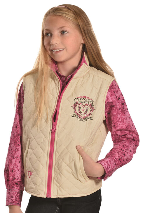 Cowgirl Hardware Girls' Cowgirl Ranch Quilted Vest, Cream, hi-res