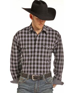 Panhandle Men's Black Check Print Shirt, Black, hi-res