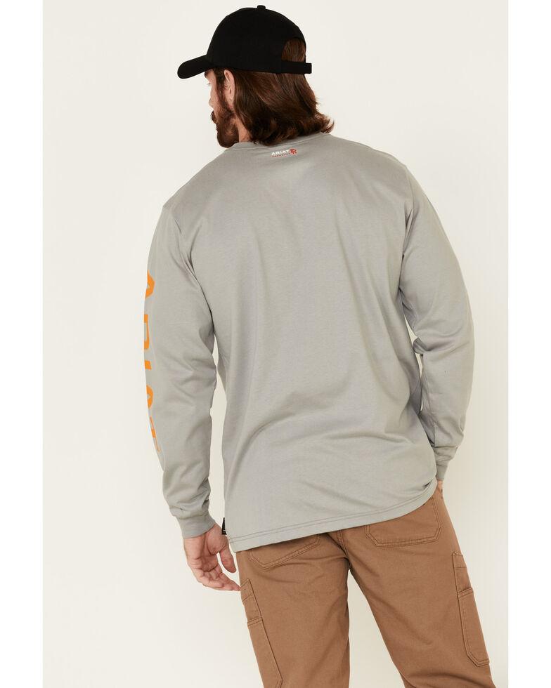 Ariat Men's Grey FR Logo Crew Neck Long Sleeve Shirt, Grey, hi-res