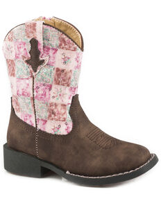 Roper Toddler Girls' Floral Shine Sequin Cowgirl Boots - Square Toe, Brown, hi-res