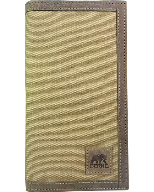 Berne Men's Canvas Leather Trim Checkbook Wallet , Brown, hi-res