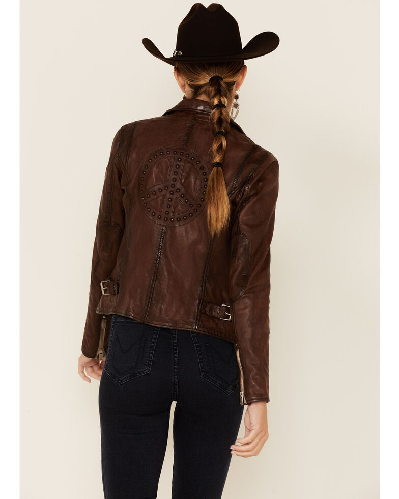 Mauritius Women's Brown Leather Peace Sign Moto Jacket , Brown, hi-res