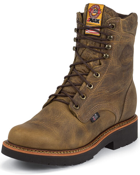 "Justin J-Max 8"" Work Boots - Soft Toe, Tan, hi-res"