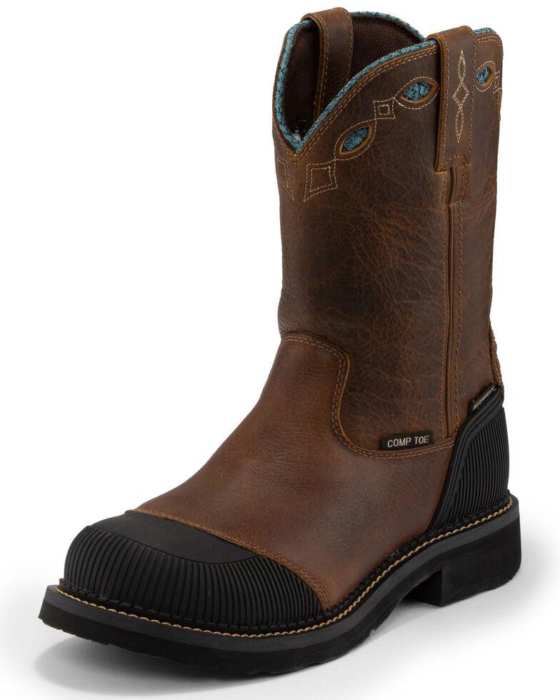 Justin Women's Audrey Waterproof Western Work Boots - Composite Toe, Brown, hi-res