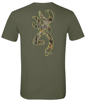 Browning Men's Realtree Xtra Buckmark Green Short Sleeve Tee, Green, hi-res
