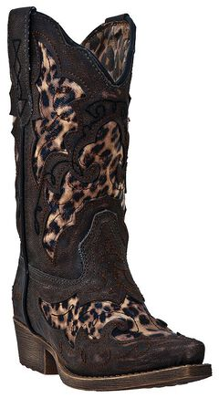 Laredo Girls' Sabre Cowgirl Boots - Pointed Toe, Brown, hi-res