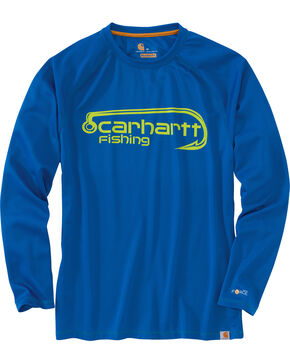 Carhartt Men's Blue Force Fishing Hook Long Sleeve Tee , Medium Blue, hi-res