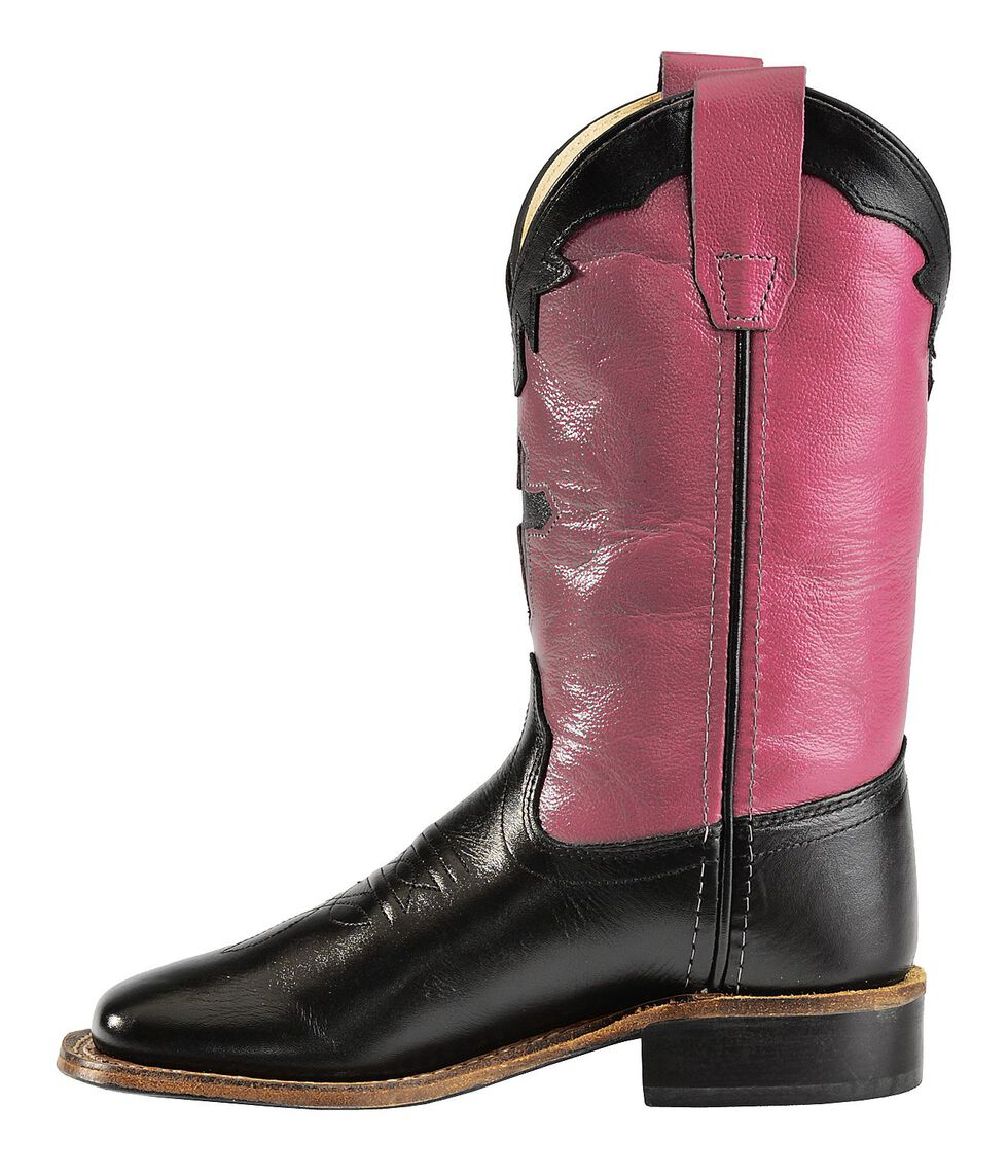 Old West Youth Girls' Hot Pink Cross Inlay Cowgirl Boots, Black, hi-res