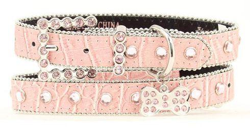 Blazin Roxx Croc Print Dog Collar - M-L, Pink, hi-res