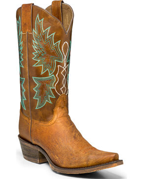 "Nocona Women's 12"" Distressed Cowgirl Boots - Snip Toe, Tan, hi-res"