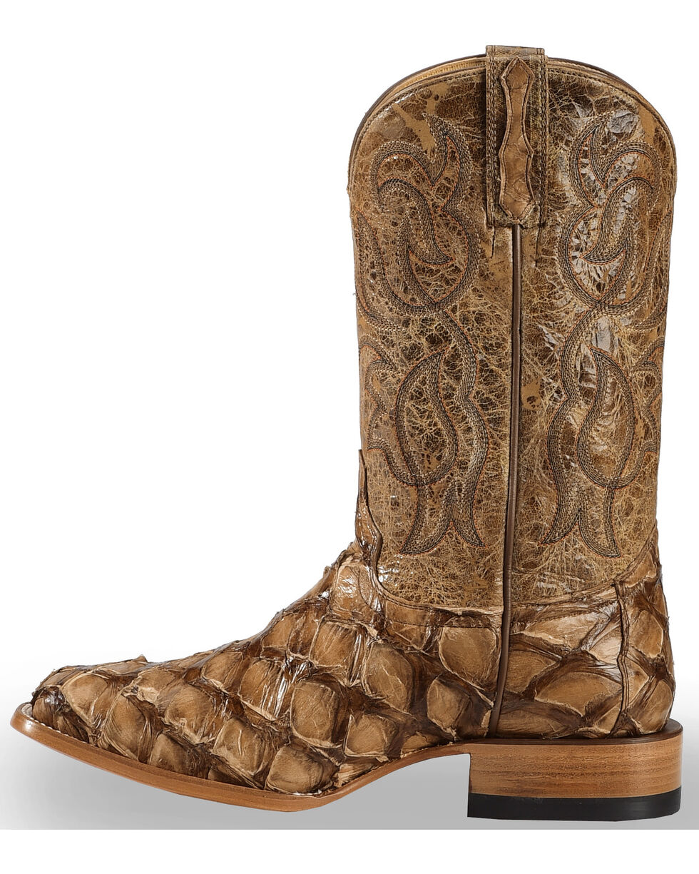 Cody James Pirarucu Exotic Boots -  Broad Square Toe , Brown, hi-res