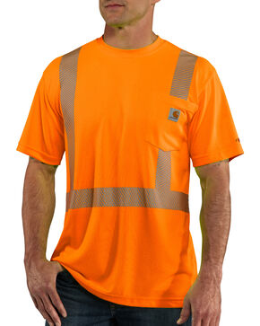 Carhartt Men's Orange Force High-Visibility Class 2 T-Shirt - Big, Orange, hi-res