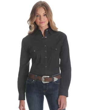 Wrangler Women's Black Long Sleeve Western Top, Black, hi-res