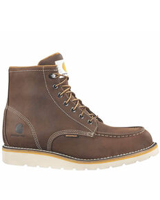 Carhartt Men's Waterproof Wedge Work Boots - Steel Toe, Brown, hi-res