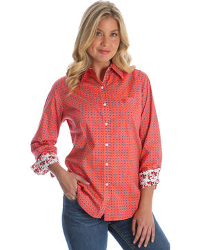 Wrangler Women's Peach George Strait  Medallion Print Shirt , Multi, hi-res
