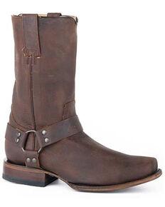 Roper Men's Biker Brown Western Boots - Square Toe, Brown, hi-res
