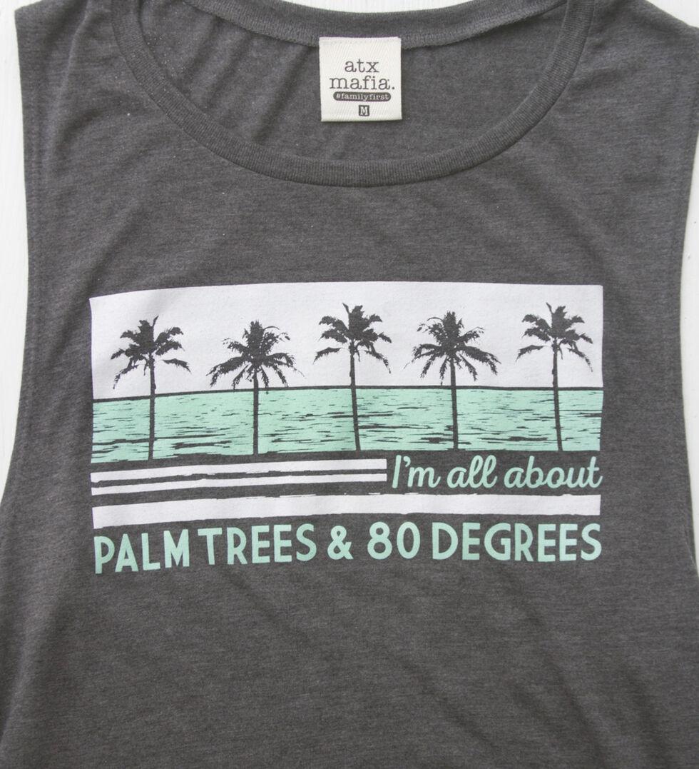 ATX Mafia Women's Grey Palm Trees Tank , Grey, hi-res